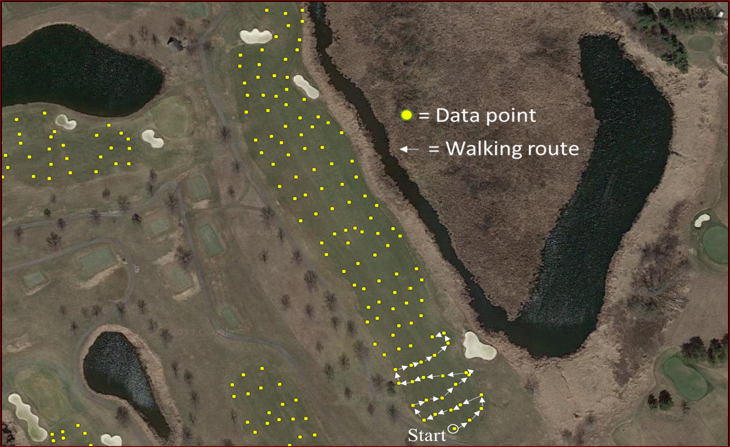 aerial view of a golf course with sampling sites